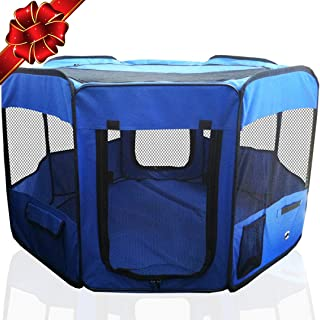 """ToysOpoly #1 Premium Pet Playpen – Large 45"""" Indoor/Outdoor Cage. Best Exercise Kennel for Your Dog, Cat, Rabbit, Puppy, Hamster or Guinea Pig. Portable Fabric Pen for Easy Travel"""