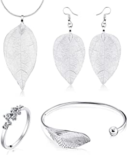 Blulu 5 Pieces Women Jewelry Open Leaf Cuff Bracelet, 9...