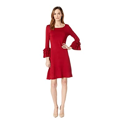 Gabby Skye Ruffle Sleeve Sweater Dress (Eastern Ruby) Women