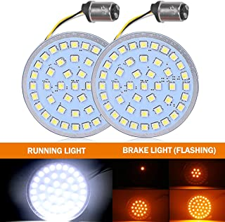 2 Inch Turn Signals Lights for Harley with Flashing Function Amber Brake Light/White Running Light - DOT Compliant