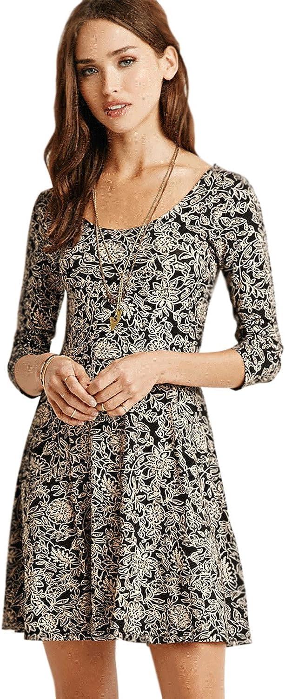Unomatch Women Printed Short Length Halter Skirt Dress Black