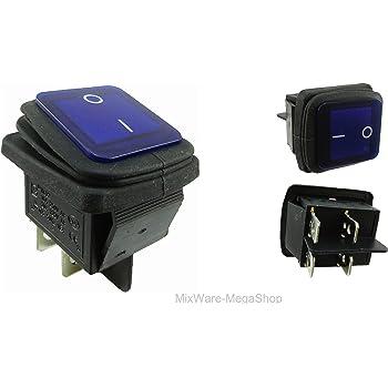 Bleu - 250 V Interrupteur /à bascule /étanche /à 2 p/ôles 16 A 4 broches