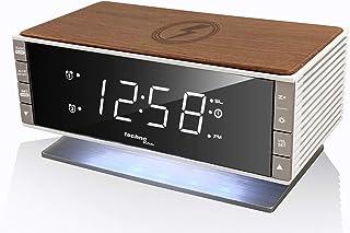 Technoline mit Ladefläche in Holz-Retro-Optik Radio Despertador Moderno WT487, Dispositivos móviles compatibles con Qi inalámbrica, función de Carga inductiva, Brown-Blanco-Plata, 16,5 x 8,0 x 9,3 cm