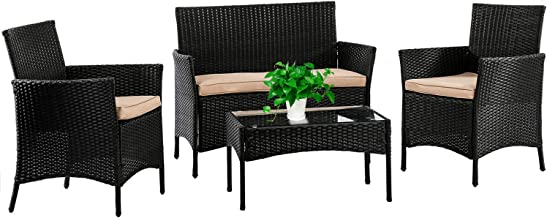 FDW Patio Furniture Set 4 Pieces Outdoor Rattan Chair Wicker Sofa Garden Conversation Bistro Sets for Yard,Pool or Backyard