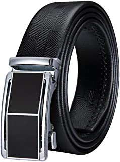 Dubulle Mens Fashion Ratchet Belt Black Leather Belt Strap with Designer Buckle Detachable