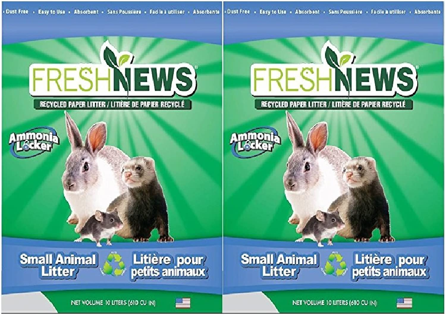 Fresh News Paper Small Animal Litter, 10,000Cubic Centimeter (Pack of 2)
