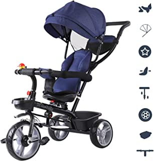 HUJPI Kinderwagen Dreirad mit Baldachin Dreirad Klappbar mit Griff Pushing Kinder Tricycle mit verstellbarem Sitz Baby-Trike mit Aufbewahrungsbox,Pink