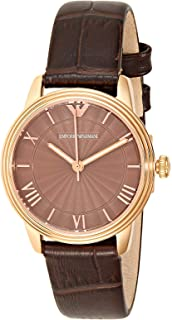 Emporio Armani Retro Women's Brown Dial Leather Band Watch - AR1619