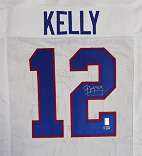 BUFFALO BILLS JIM KELLY AUTOGRAPHED WHITE JERSEY BECKETT BAS STOCK #119707