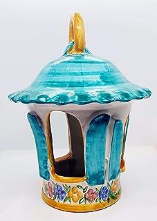 Lanterna in Ceramica Traforata e Dipinta a mano Handmade Le Ceramiche del Castello Pezzo Unico Made in Italy Dimensioni 28...