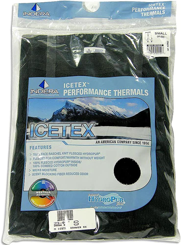 Indera - Mens Icetex Performance Thermal Long John Pant 286DR, Black 23497-X-Large