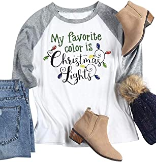EGELEXY Plus Size Christmas Shirt Women My Favorite Color is Christmas Lights Print Female Cute T-Shirt Casual Ladies Top Tee