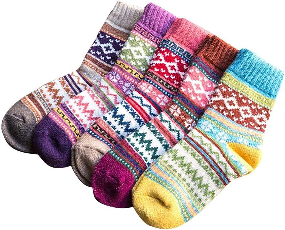 Kangma Winter Wool Socks Warm Padded Soft Vintage Socks Christmas Gift for Women Girls Cozy Crew Socks