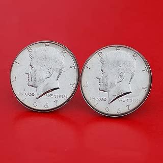 US 1967 Kennedy Half Dollar 40% Silver Coin Silver Cufflinks NEW