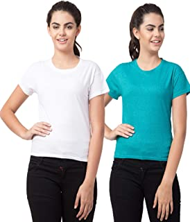 Bluecon Solid Cotton Slim Fit Cap Sleeve Women Tshirt/Half Sleeve Yoga Tshirt for Women Pack of 2