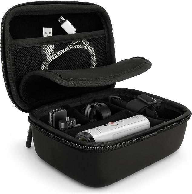iGadgitz U5886 Estuche cámara fotográfica Duro - Funda Compatible con Go Pro Hero Session Qumox Sony Action CAM - Negro