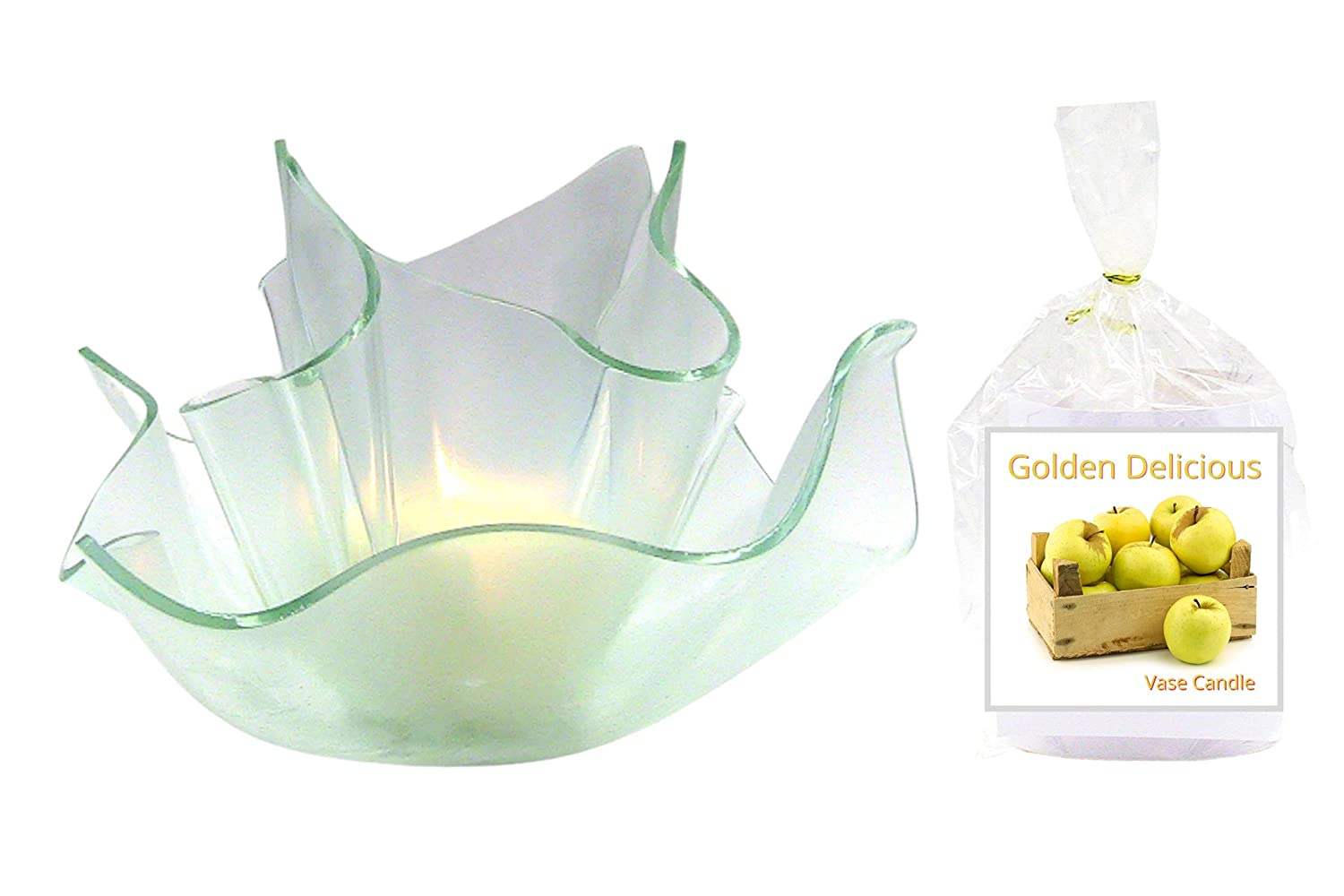 Golden Delicious Genuine Free Shipping Apple Clear Satin Vase Set Soy Dish 2 Premium Ranking TOP12