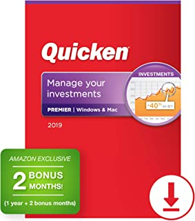 Quicken Premier 2019 Personal Finance & Investment Software [PC/Mac Download] 1-Year Subscription + 2 Bonus Months [Amazon Exclusive]