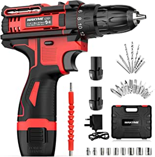 """WAKYME 12.6V Cordless Drill Driver, Power Drill 30Nm, 8+3 Clutch, 3/8"""" Keyless Chuck, Variable Speed & Built-in LED Electr..."""