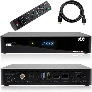 AX HD60 4K UHD 2160p E2 Linux 1xDVB-S2X Receptor de satélite incluye cable HDMI [preprogramado para Astra & Hotbird]