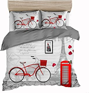 Feelyou Modern Famous City Scenery Duvet Cover Set Eiffel Tower Telephone Booth Print Bedding Set King Size France Paris Microfiber Polyester Comforter Cover with 2 Pillow Shams, Red Grey, Zipper