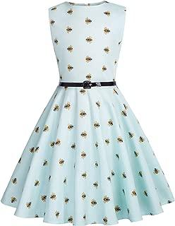 Girls Sleeveless Vintage Print Swing Party Dresses 6-15 Years
