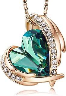 CDE Collar con Colgante de corazón de Amor para Mujer, Collares de Oro/Blanco de 18 Quilates, joyería, Regalos de cumpleañ...