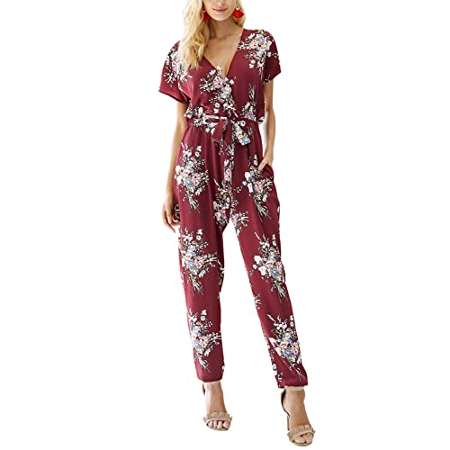 24e02ae538a Missy Chilli Women s Floral Print Short Sleeve V Neck Wrap Jumpsuit with  Tie Waist