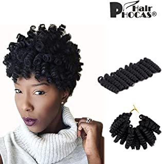 HairPhocas 5 Pack 10 inch Toni Short Jumpy Wand Curl Weave Crochet Braids Afro Curl Synthetic Hair Extensions for Women (8mm) #1B