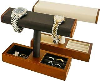 حامل ساعة من روجي أشود مع صينية مجوهرات جلدية وألياف دقيقة، سوار الساعة وحامل إكسسوارات المجوهرات (عاجي (ألياف دقيقة)