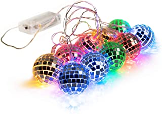 West Ivory 5.5 feet 10 Mixed Multi-Colors Mirror Disco Ball String Fairy Globe Light - Battery Powered Decorative Indoor Outdoor