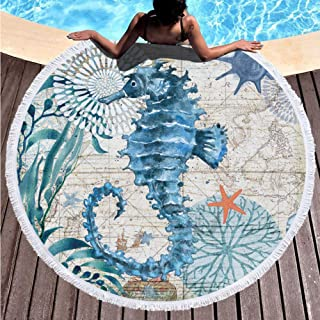 DIABO Thick Round Beach Towel Blanket Animal Printed 150cm Large Microfiber Terry Beach Roundie Circle Picnic Carpet Yoga Mat with Tassel for Women(Wolf 06)