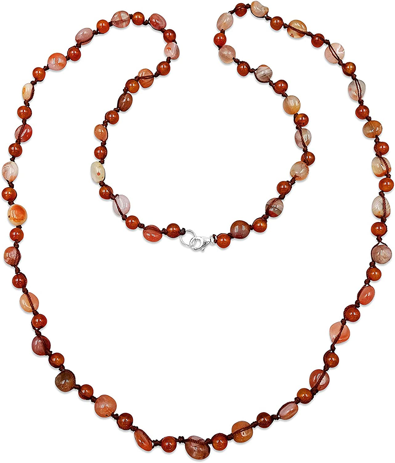 Carnelian long knotted necklace gemstone necklace healing necklace boho womens girls gift
