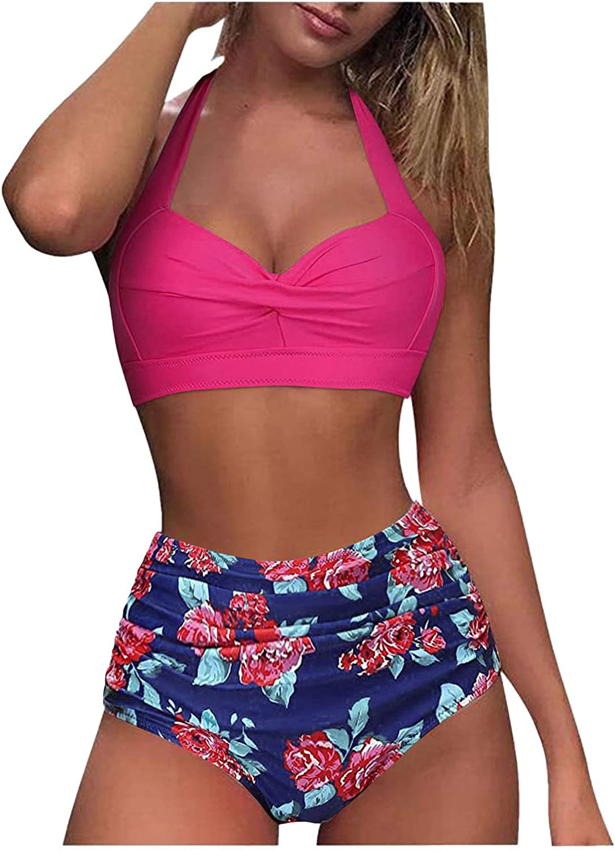 Swimsuit for Women,Women Sexy High Breast Contrast Gradient Split Bikini Set Tankini High Waisted One Piece Swimsuit