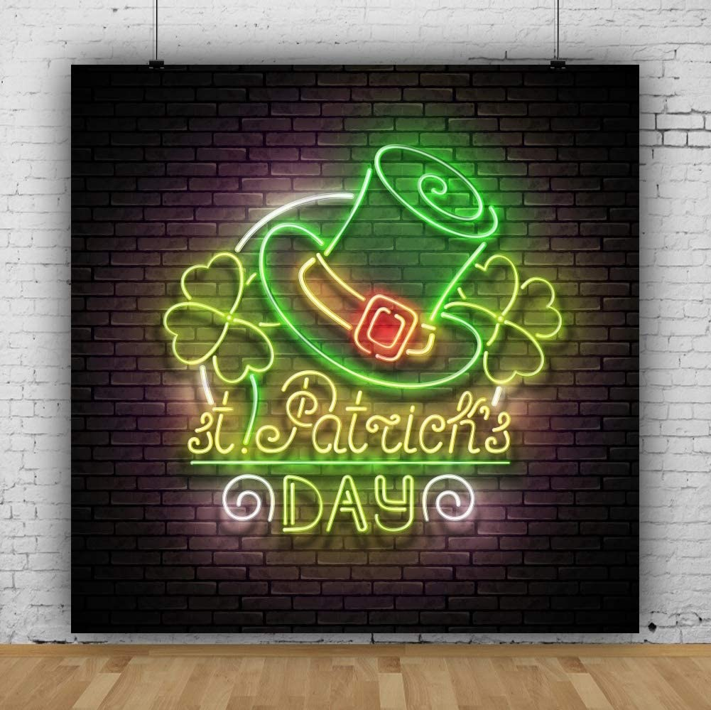 Yeele 10x10ft Vinyl Studio Props Banner Supplies Decoration St.Patricks Day Backdrop Photography Background Beautiful Neon Light Leprechaun Hat Lucky Irish Shamrock Adult Portrait Photography