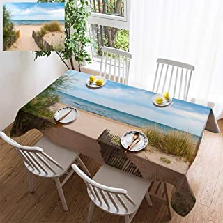 HOOMORE Simple Color Cotton Linen Tablecloth,Washable, Beach Near Montpellier France Decorating Restaurant - Kitchen School Coffee Shop Rectangular 86×54in