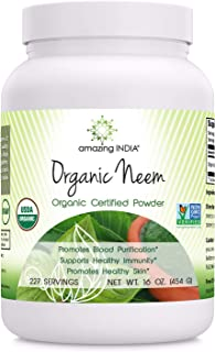 Amazing India USDA Certified Organic Neem Powder (Non-GMO) 16oz - Promotes Blood Purification, Healthy Immunity & Healthy ...