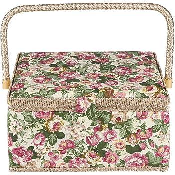 Cesta de Costura de Tela, Diseño Floral, Kit de Costura Cesta con Asa para Hogar y Uso Diario, 30,5 x 23 x 15,5 cm: Amazon.es: Hogar