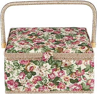 Cesta de costura de tela, diseño floral, organizador para el hogar, 30,5 x 23 x 15,5 cm, herramienta de costura no incluida
