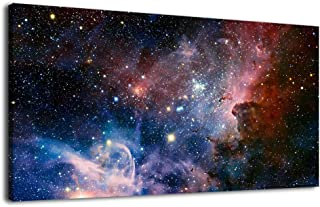 arteWOODS Canvas Wall Art Galaxy Nebula Starry Cosmic Painting Pictures Panoramic Canvas Arotwork Universe Stars Outer Space Wall Art for Home Office Decoration Framed Ready to Hang 20