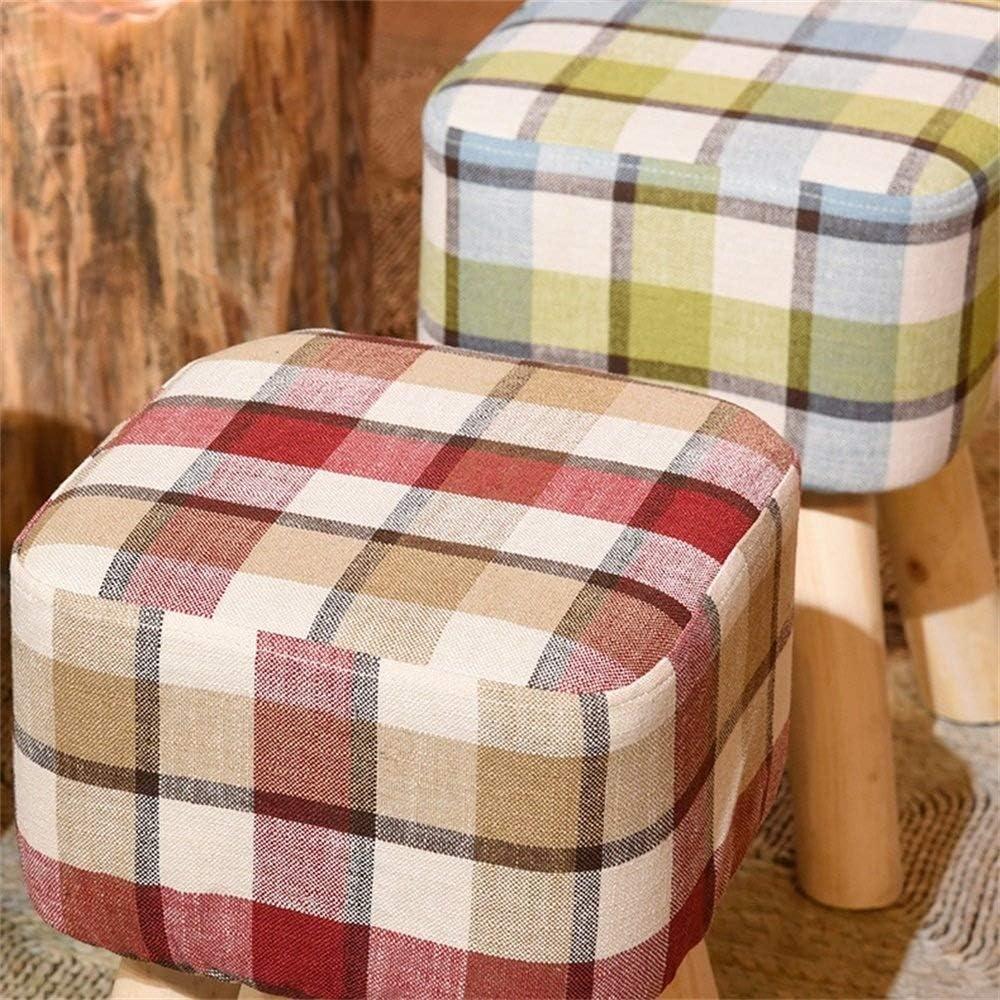 B-fengliu Tissu en Bois Massif Moderne carré Idées Simples Creative Salon Chambre Tabouret Remplacement Chaussures Tabouret (Color : B) A