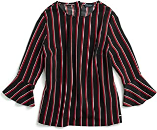 Tommy Hilfiger Women's Adaptive Top with Bell Sleeves and Magnetic Buttons