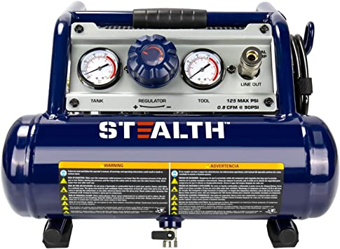 Stealth Ultra Quiet 1 Gallon ½ HP Max 125 PSI 0.8 CFM@90PSI Oil-Free Light Weight Portable Air Compressor Air Tools, SAUQ-1105: image
