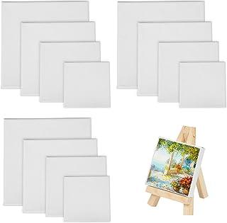 LAITER 12 Pcs Panneaux de Toile à Peindre Châssis Entoilé pour Peinture à l'huile Acrylique Toile Line Carré 10x10 15x15 2...