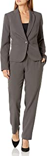 NINE WEST Women's 1 Button Notch Collar Crepe Jacket and Pant