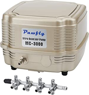 Pawfly 254-285 GPH Commercial Air Pump 2-4 Outlets Manifold Quiet Oxygen Aerator Pump for Aquarium Pond/Outdoor Fishing