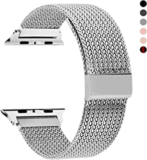 RXCOO Compatible for Watch Band 38mm/40mm 42mm/44mm, Stainless Steel Mesh Wristband Loop Magnet Band Compatible with Iwatch Series 4/3/2/1 (Silver, 42mm/44mm)