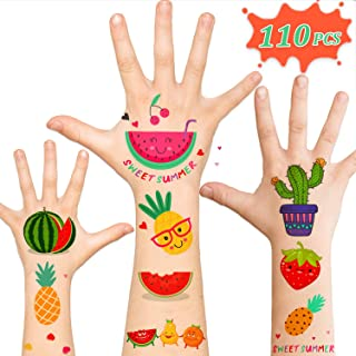 110pcs Temporary Fake Kids Tattoos, Mexican Fiesta Cactus Watermelon Party Supplies Favors Decorations Accessories, Waterproof Sticker Tattoos for Girls Boys Kids