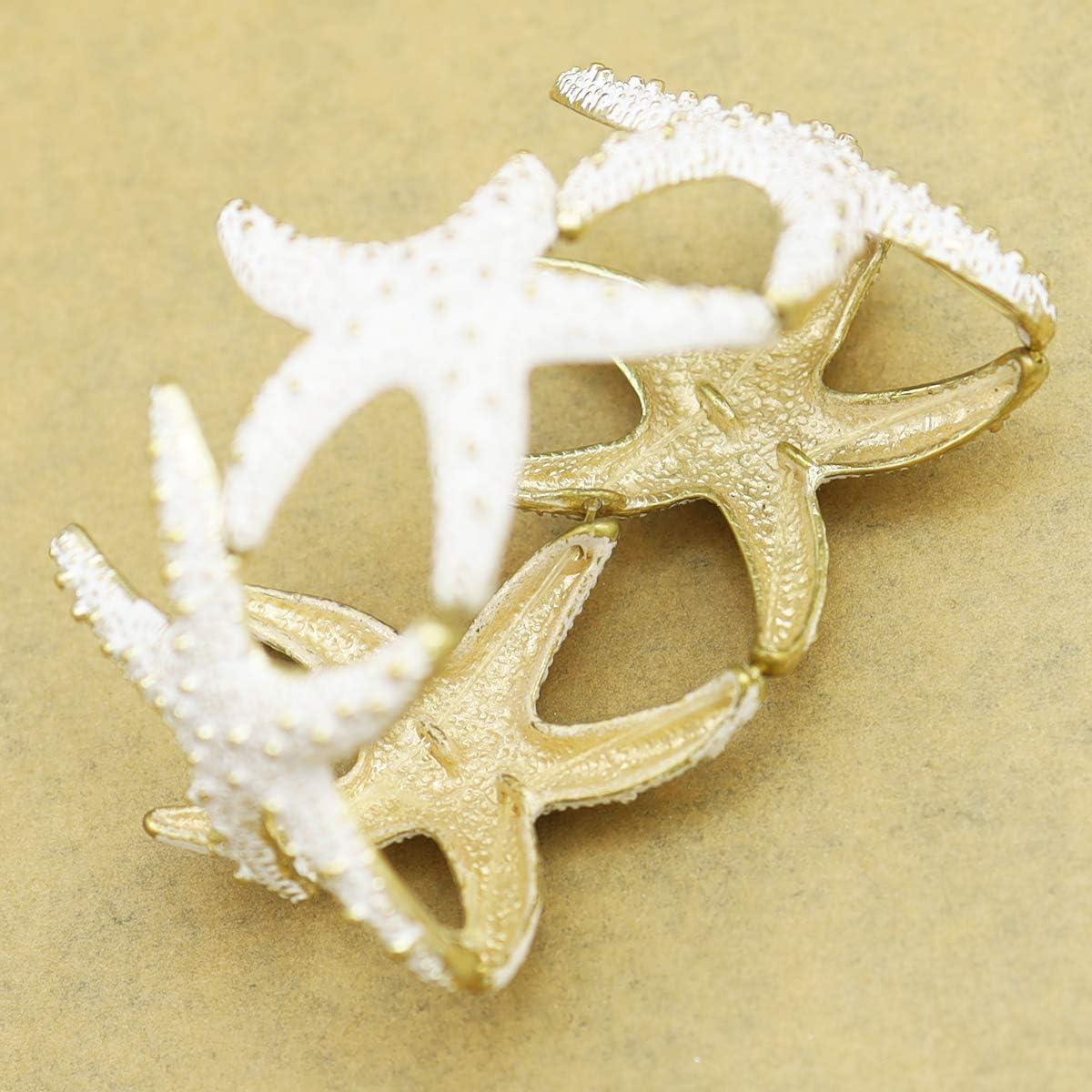 RechicGu Gold Cuff Bracelet Bangle Fro Women Starfish Halloween Christmas Textured Beach Sea Enamel Stretch