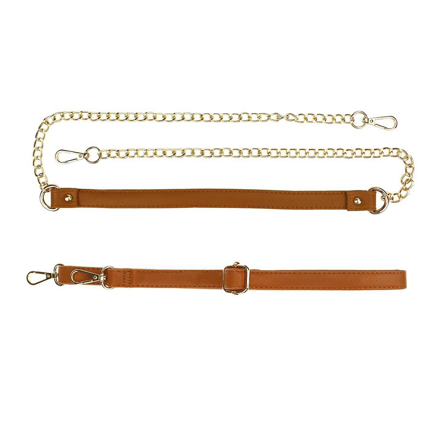 Coolcoco Luxury 43 Inches DIY Cross Body Leather Purse Replacement Chain Strap Set with Gold Metal Buckles Light Brown (Two Pieces/Set)